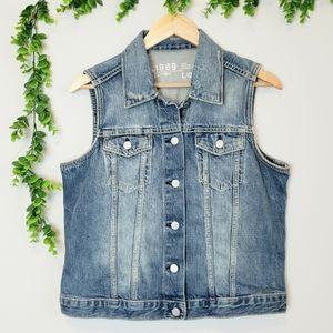 Gap Distressed Denim Vest